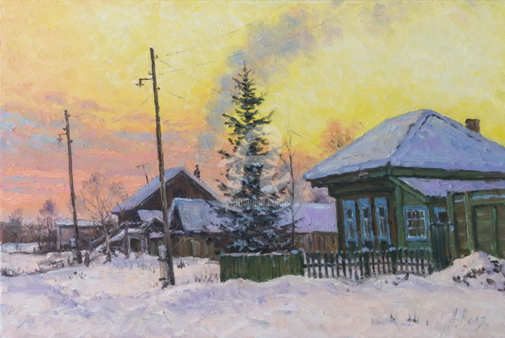Village street, evening - Painting,  30x45 cm ©2018 by Alexander VOLYA -                                                            Realism, Canvas, Landscape, forest, frost, izba, rime, river, road, Russia, snow, sun, village, winter, Volya