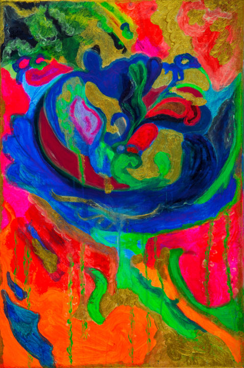 """Painting titled """"The Flower"""" by Alexandra Berliner, Original Art, Acrylic"""