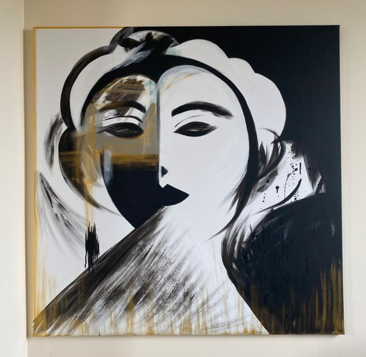 """Painting titled """"Miss Jeje"""" by Alexandra Gitta, Original Art, Watercolor Mounted on Stretcher frame"""