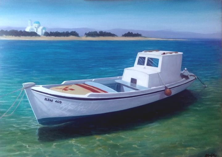 fishing boat - Painting,  19.7x27.6x2 in, ©2016 by Αλεξανδριδης -