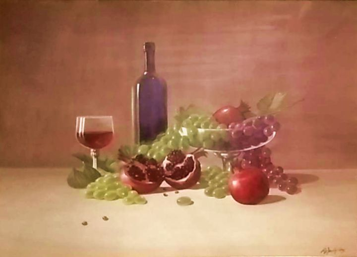 still life - Painting,  23.6x31.5x2 in, ©2009 by Αλεξανδριδης -