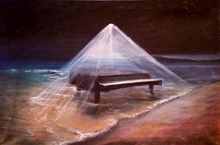"""Painting titled """"the divine piano"""" by Αλεξανδριδης, Original Art, Acrylic"""