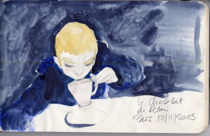 Le chocolat chaud - Drawing, ©2015 by Alexandrine Dévé -