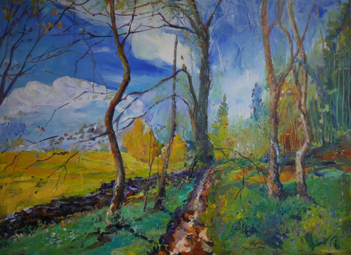 """Painting titled """"A stroll in the park"""" by Alexandra Ghimisi, Original Art, Acrylic Mounted on Wood Panel"""