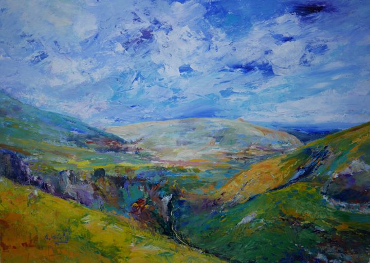 """Painting titled """"View over The Hope…"""" by Alexandra Ghimisi, Original Art, Acrylic"""
