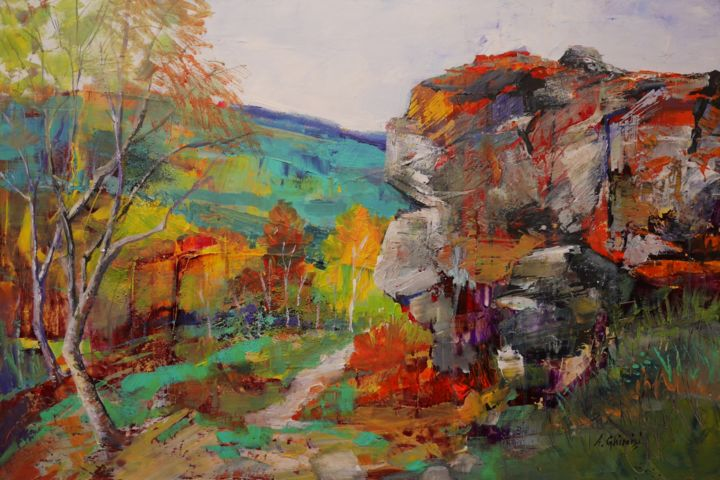 """Painting titled """"Cliffs in Peak Dist…"""" by Alexandra Ghimisi, Original Art, Acrylic Mounted on Wood Panel"""