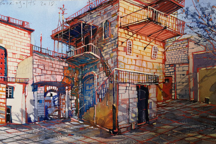 Cityscape-11 - Painting,  10.2x15.4 in, ©2018 by Alexey Boukingolts -                                                                                                                                                                                                                                                                                              Cityscape, Israel art, Manole Art Gallery, buy paintings online, buy art online, art for sale