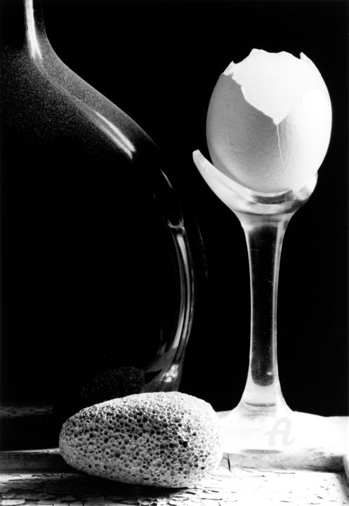 Stil life with an eggshell - Photography,  21.7x13.8 in, ©2015 by Alexey Sobolev -                                                                                                                                                                                                                                                                                                                                                                                                          Figurative, figurative-594, Still life, film, silvergelatin, handprint, b&w, stilllife