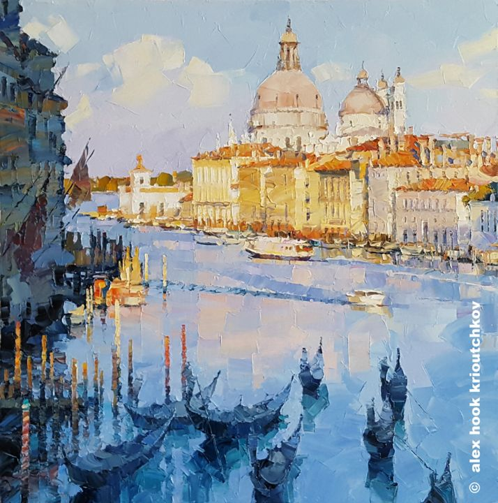 Venice XII - Painting ©2019 by Alex Hook Krioutchkov -                                                                                            Contemporary painting, Architecture, Boat, Cities, Ships, Places, Venice, Venecia, Grand Canal, seascape, cityscape, boats, gondolas, marina, architecture