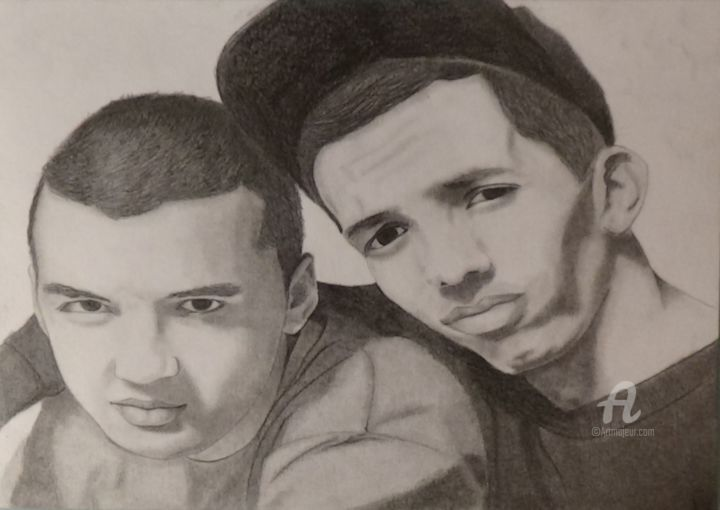 bigflo-oli - Drawing,  8.3x11.7 in, ©2016 by Alexis Raoult -                                                                                                                                                                                                                                                                                                                                                                                                                                                                                                                                              Figurative, figurative-594, Pop Culture / celebrity, Celebrity, bigflo, oli, crayon, papier, dessin, draw, drawing
