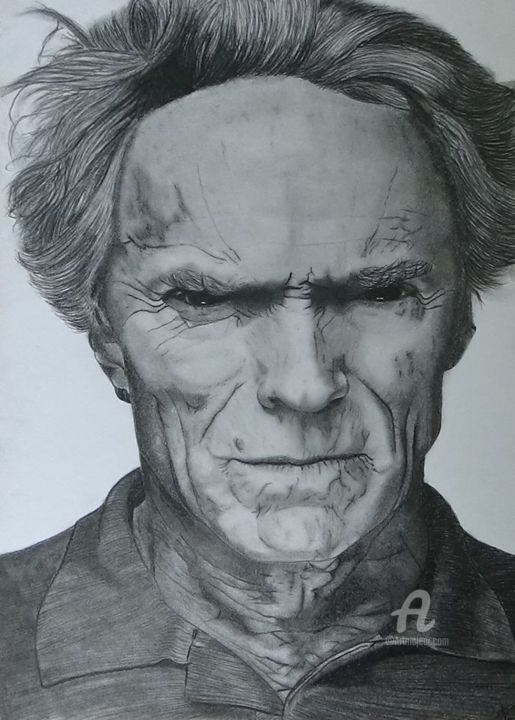 clint Eastwood - Drawing,  11.7x8.3 in, ©2016 by Alexis Raoult -                                                                                                                                                                                                                                                                                                                                                                                                                                                      Figurative, figurative-594, Pop Culture / celebrity, People, Clint eastwood, alexis raoult, dessin, crayon, canson