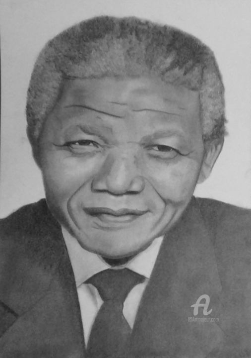 Nelson Mandela - Drawing,  11.7x8.3 in, ©2016 by Alexis Raoult -                                                                                                                                                                                                                                                                                                                                                                                      Pop Culture / celebrity, Celebrity, nelson mandela, alexis raoult, nbcover, dessin, martin lutherking, draw