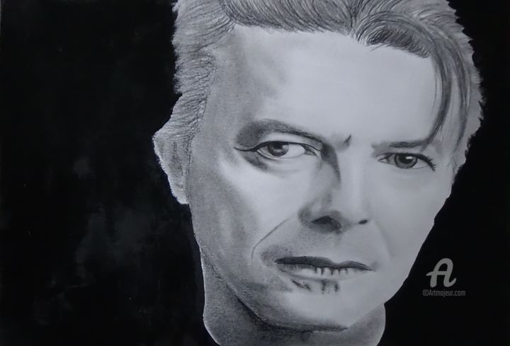 David Bowie - Drawing,  8.3x11.7 in, ©2016 by Alexis Raoult -                                                                                                                                                                                                                                                                                                                                                                                      Pop Culture / celebrity, Celebrity, David Bowie, dessin, crayon, papier, nbcover, alexis raoult