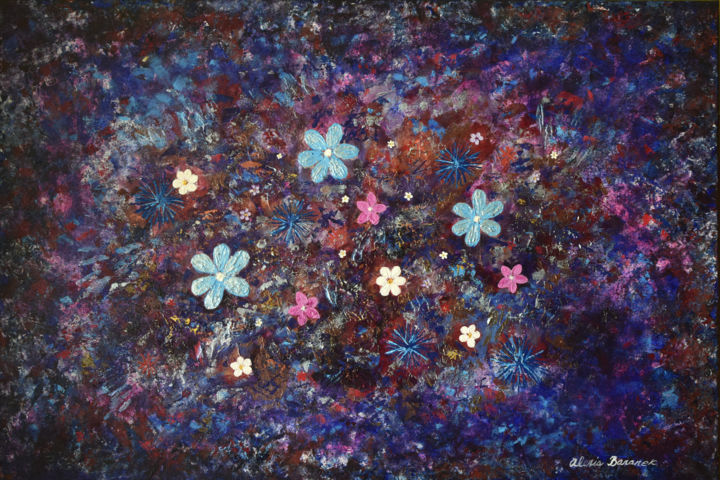 Flower Constellation - Painting,  24x36x0.75 in ©2006 by Alexis Baranek -                                                                                    Abstract Art, Canvas, Abstract Art, Colors, Flower, purple, modern, blue, stardust, silver, metallic, abstract, night, flowers