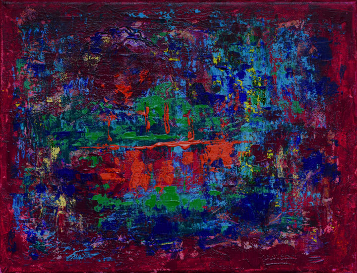 Reflections - ©  Red, blue, green, abstract, colorful, modern, contemporary, textured Online Artworks