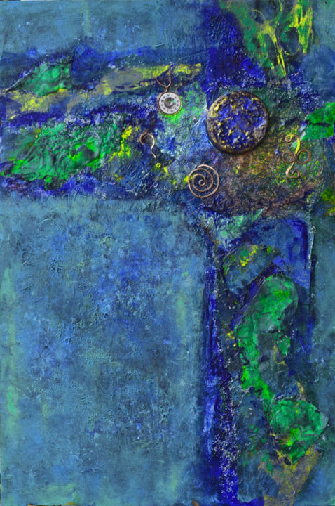 Does Anybody Really Know What Time It is - Painting,  18x12x1.5 in, ©2019 by Alexis Baranek -                                                                                                                                                                                                                                                                                                                                                                                                                                                                                                                                                                                                                                                                                      Abstract, abstract-570, Metal, Other, Wood, Abstract Art, Colors, blue, green, turquoise, metallic, copper, textural, collage