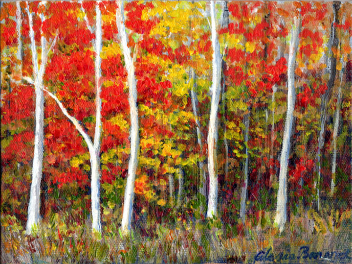 Autumn Color - Painting,  6x8x0.2 in, ©2019 by Alexis Baranek -                                                                                                                                                                                                                                                                                                                                                                                                                                                                                                                              Canvas, Wood, Colors, Landscape, Tree, Autumn, Fall, red, yellow, colorful, forest