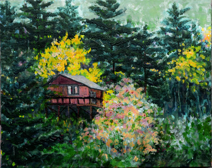 Seclusion - Painting,  8x10x0.1 in, ©2019 by Alexis Baranek -                                                                                                                                                                                                                                                                                                                                                                                                                                                                                                                                                                                                                                          Impressionism, impressionism-603, Canvas, Wood, Home, Landscape, Tree, mountains, cabin, cottage, trees, pines, green