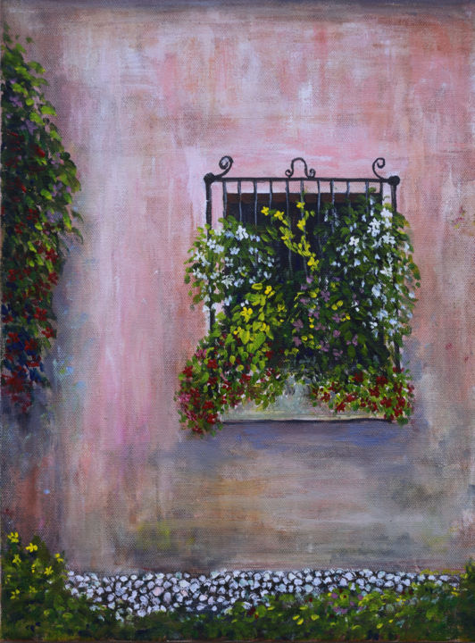 Window Box and Old Stucco - Painting,  16x12x0.8 in, ©2019 by Alexis Baranek -                                                                                                                                                                                                                                                                                                                                                                                                                                                                                                                                              Impressionism, impressionism-603, Architecture, Flower, pink, wall, Spanish, ironwork, flowers, windowbox, window