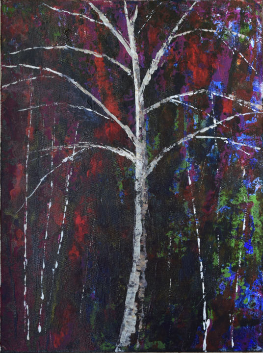 Standing Tall - Painting,  16x12x0.8 in, ©2019 by Alexis Baranek -                                                                                                                                                                                                                                                                                                                                                                                                                                                                                                                                                                                          Abstract, abstract-570, Colors, Tree, tree, red, green, abstract, impressionism, modern, contemporary, colorful