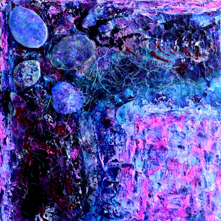 jewelelements.jpg - Painting,  12x12x1.5 in, ©2019 by Alexis Baranek -                                                                                                                                                                                                                                                                                                                                                                                                                                                                                                                                                                                                                                                                                                                                                                                                                          Abstract, abstract-570, Other, Wood, Abstract Art, Patterns, blue, turquoise, pink, magenta, texture, layers, mixed-media, modern, contemporary, colorful, purple