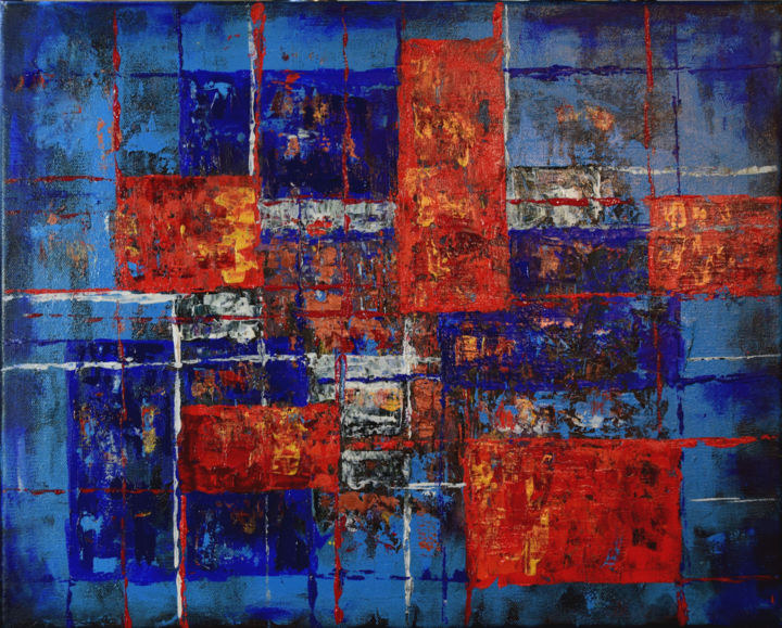 Energy - Painting,  16x20x0.8 in, ©2019 by Alexis Baranek -                                                                                                                                                                                                                                                                                                                                                                                                                                                                                                                                                                                                                                                                                  Abstract, abstract-570, Abstract Art, Geometric, rectangles, lines, texture, depth, modern, contemporary, red, blue, white, gold