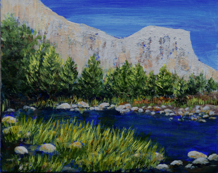 Rock Wall - Painting,  8x10x0.1 in, ©2019 by Alexis Baranek -                                                                                                                                                                                                                                                                                                                                                                                                                                                                                                                                                                                                                                                                                                                                                                          Figurative, figurative-594, Landscape, Mountainscape, Water, blue, green, mountains, rock, rocks, serene, water, pond, marsh grass, trees, evergreens