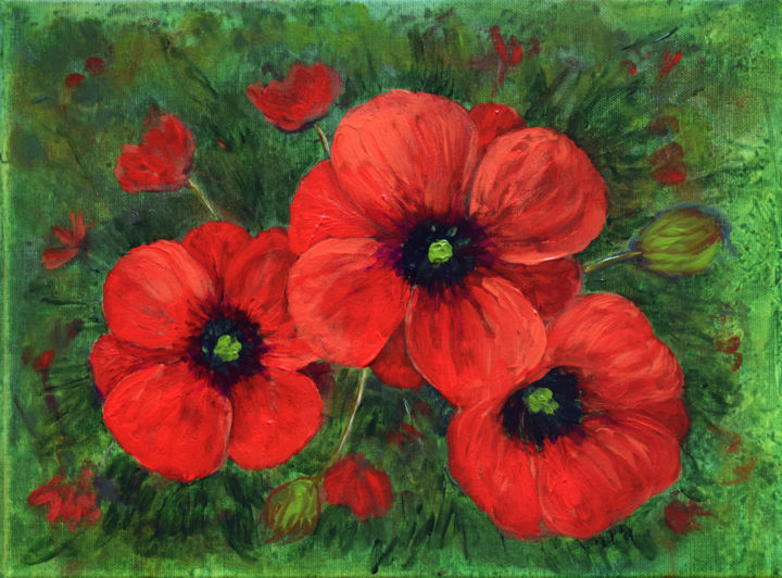Poppies - Painting,  12x16x0.8 in, ©2019 by Alexis Baranek -                                                                                                                                                                                                                                                                                                                                                                                                                                                      Impressionism, impressionism-603, Flower, red, green, flowers, poppy, nature, modern