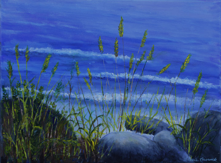 Rocks and Seagrass - Painting,  12x16x0.8 in, ©2019 by Alexis Baranek -                                                                                                                                                                                                                                                                                                                                                                                                                                                                                                                                          Figurative, figurative-594, sea, ocean, rocks, grasses, sea oats, blue, green, waves, summer