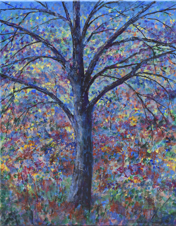 Tree of Happiness 2 - Painting,  20x16x0.8 in, ©2015 by Alexis Baranek -                                                                                                                                                                                                                                                                                                                                                                                                                                                                                                                                              Abstract, abstract-570, Tree, tree, impressionistic, blue, colorful, collage, mixed-media, iridescent, red