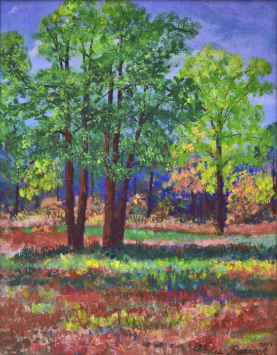 View From Home - Painting,  14x11x0.1 in, ©2004 by Alexis Baranek -                                                                                                                                                                                                                                                                                                                                                                                                                                                      Impressionism, impressionism-603, Landscape, trees, orange, green, forest, Florida, Impressionist