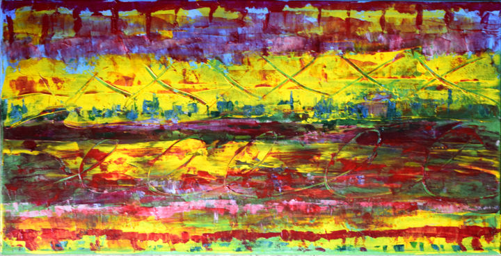 Captive City - Painting,  12x24x0.75 in ©2017 by Alexis Baranek -                                                                        Abstract Art, Abstract Expressionism, Canvas, Abstract Art, red, green, pink, yellow, abstract, texture, colorful