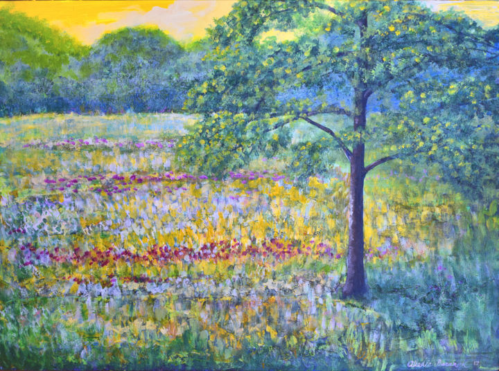 Spring Morning - Painting,  18x24x0.1 in ©2017 by Alexis Baranek -                                                                                    Impressionism, Realism, Canvas, Landscape, Tree, Tree, flowers, fields, sunny, yellow, green, impressionistic