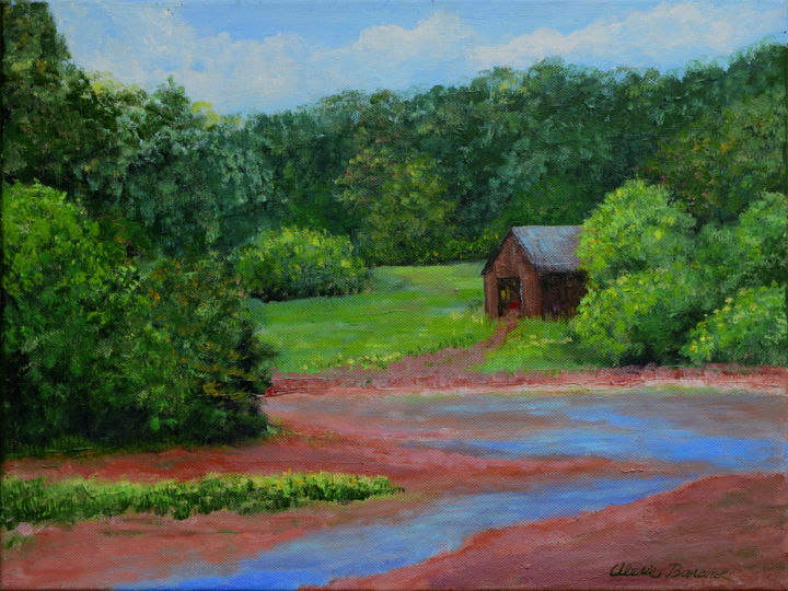 Low Tide - Painting,  12x16x0.75 in ©2015 by Alexis Baranek -                                                                                    Realism, Canvas, Landscape, Nature, Tree, terra cotta, red, green, creek, water, barn, rural