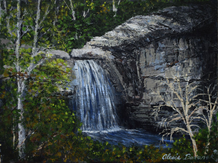 Looking Glass Falls - Painting,  12x16x0.75 in ©2010 by Alexis Baranek -                                                                                                                        Photorealism, Realism, Canvas, Landscape, Nature, Places, Tree, Water, waterfall, autumn, forest, trees, blue, green, rocks, mountains, North Carolina