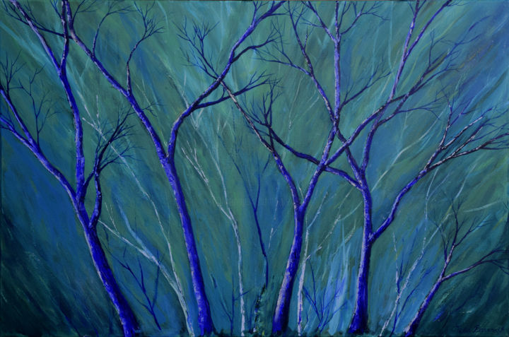 Aqua Forest - Painting,  24x36x0.75 in ©2017 by Alexis Baranek -                                                                                                Impressionism, Realism, Canvas, Colors, Landscape, Tree, tree, forest, imaginary, dream, blue, aqua