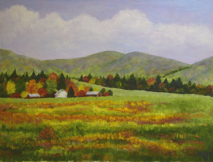 Autumn Panorama - © 2004 mountains, valley, Tennessee, Autumn, fall, orange, green, yellow, realism, landscape, panorama Online Artworks