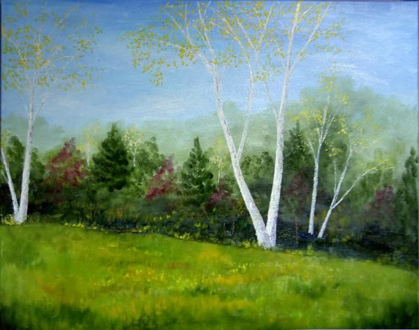 Early Autumn Birches - Painting,  24x30x0.8 in, ©2006 by Alexis Baranek -                                                                                                                                                                                                                                                                                                                  Figurative, figurative-594, Landscape, Birch, trees, Michigan