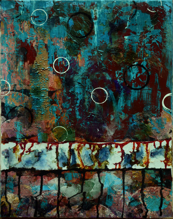 Up or Down - Painting,  20x16x0.75 in ©2017 by Alexis Baranek -                                                                        Abstract Art, Abstract Expressionism, Canvas, Abstract Art, texture, rust, teal, abstract, intuitive, collage