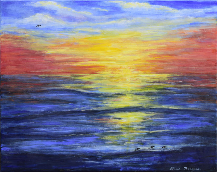 Just Before Dark - Painting,  16x20x0.8 in, ©2005 by Alexis Baranek -                                                                                                                                                                                                                                                                                                                                                                                                                                                                                                                                              Figurative, figurative-594, Seascape, Bright, colorful, sunset, Florida, Anna Maria Island, water, birds, nightfall