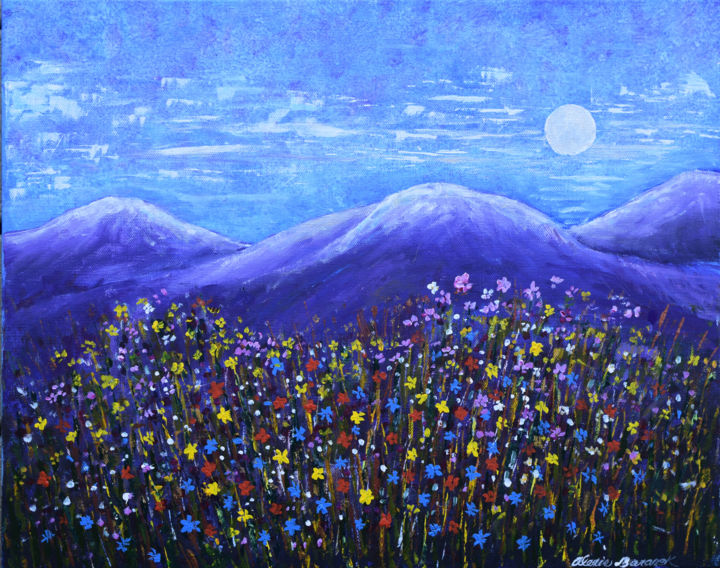 Silver Moon and Wildflowers - ©  moon, mountains, wildflowers, purple, red, yellow, colorful, modern, abstract, landscape Online Artworks