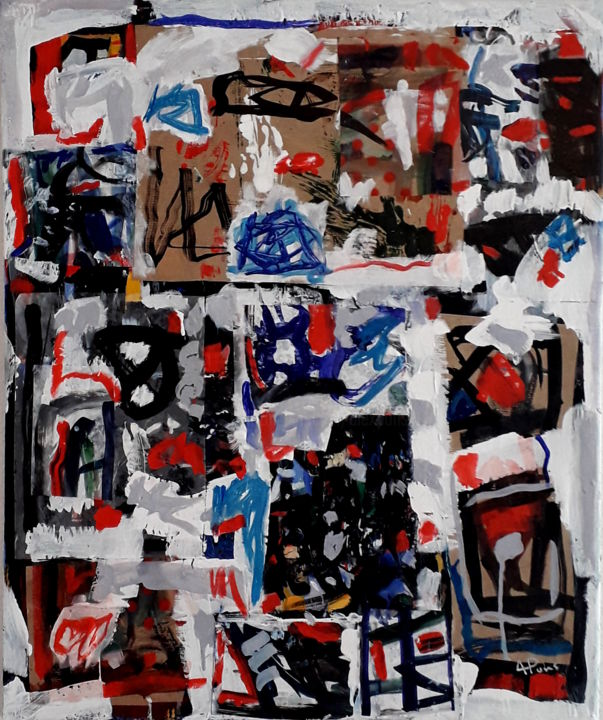 Assemblage improvisé - Painting,  65x54x2 cm ©2018 by Alexandre Pons -                                                                                                Abstract Art, Abstract Expressionism, Contemporary painting, Paper, Canvas, Abstract Art, abstraction contemporaine