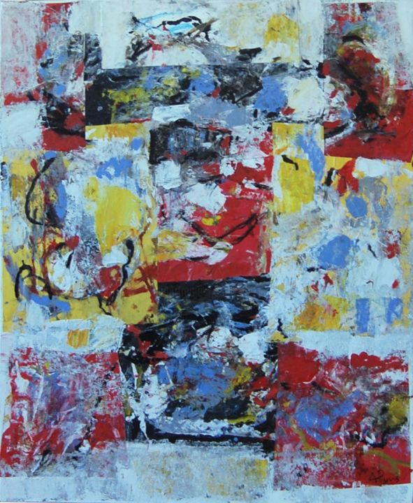 GUERRIER COLORE - Painting,  73x60 cm ©2013 by Alexandre Pons -                            Expressionism, peinture contemporaine, abstraction contemporaine, abstraction lyrique