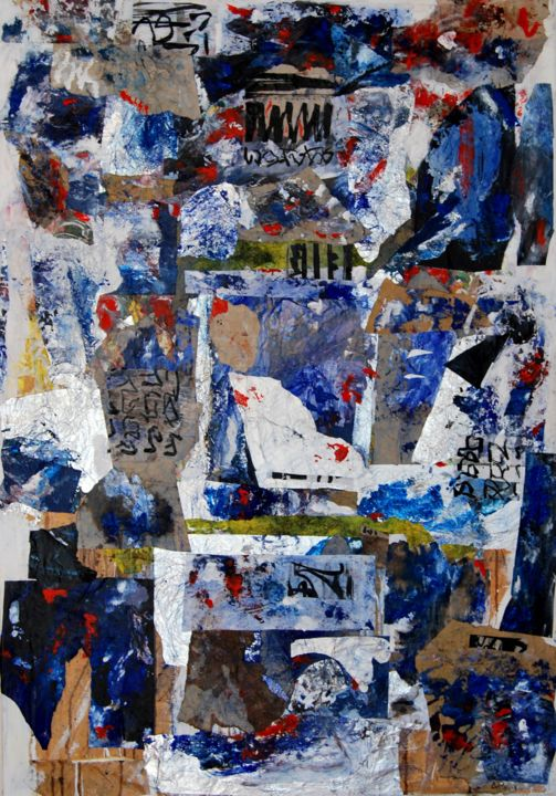 GRAND ASSEMBLAGE BLEU - Mixed Media,  116x81x2.5 cm ©2016 by Alexandre Pons -                                                                    Abstract Art, Abstract Expressionism, Contemporary painting, Abstract Art, ABSTRACTION LYRIQUE, ABSTRACTION CONTEMPORAINE