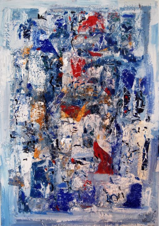 GRANDE IMPROVISATION - Mixed Media,  116x81x2.5 cm ©2016 by Alexandre Pons -                                                                        Abstract Art, Abstract Expressionism, Canvas, Abstract Art, ABSTRACTION CONTEMPORAINE, AABSTRACTION LYRIQUE