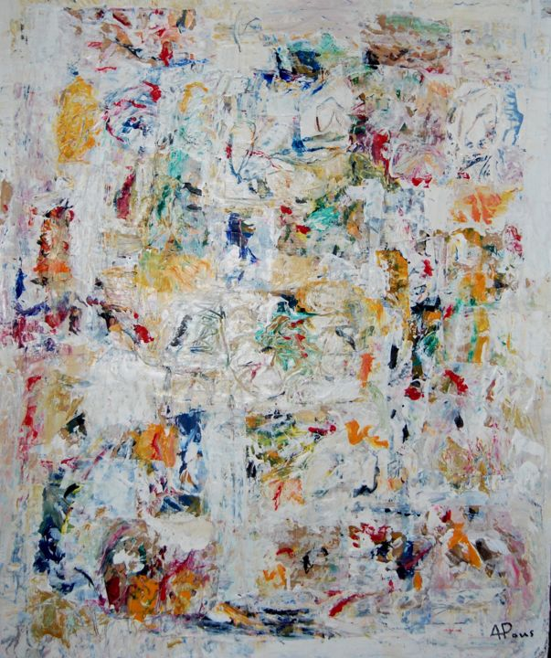 COMPOSITION - Painting,  55x46x2 cm ©2016 by Alexandre Pons -                                                                        Abstract Art, Abstract Expressionism, Canvas, Abstract Art, ABSTRACTION CONTEMPORAINE, ABSTRACTION LYRIQUE, ACTION PAINTING