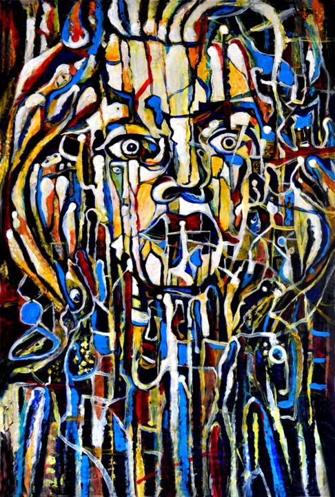 Abstract Portrait Beethoven - © 2019 abstract portrait, abstract painting, abstract acrylic, abstract face, abstract head, beethoven, music, abstract expressionism Online Artworks
