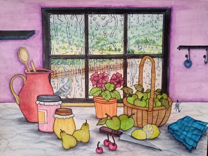 """Painting titled """"Kitchen View"""" by Alfiyah Vj, Original Art, Gouache"""