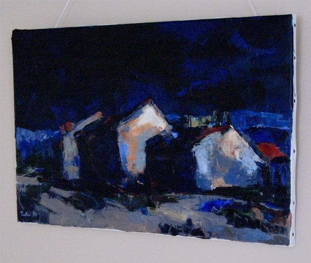 """Painting titled """"THREE HOUSES"""" by Alfons Pintor, Original Art,"""