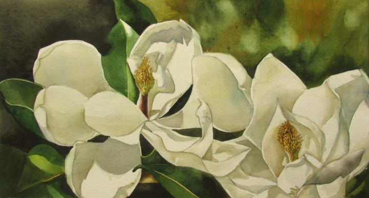White magnolia alfred ng white magnolia painting 85x16x04 in 2017 by alfred ng mightylinksfo